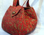Purse in Red With Brown Leaves