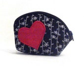 Black and White Coin Purse with Red Heart