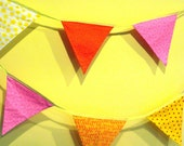 Bunting In Yellow Pink and Orange Graduation or Wedding Decor