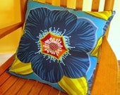 Large Blue Flower Pillow Cover