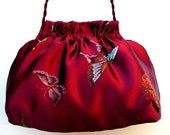 Evening Purse in Cranberry Satin With Butterfles