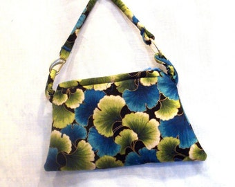 Wristlet in Blue and Green Ginko Leaves