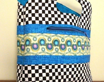 Lunch Bag/Purse In Teal and Checks