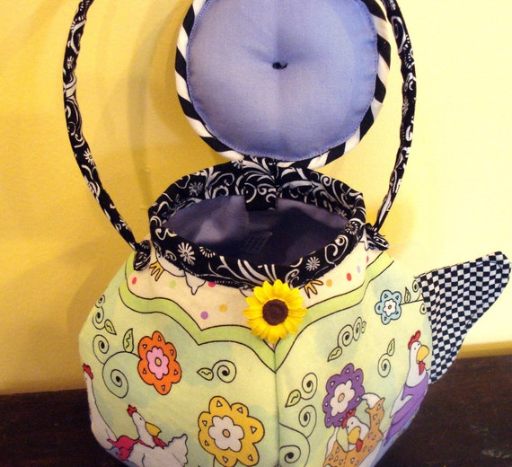 Teapot Purse Or Teabag Holder With Funky Chickens