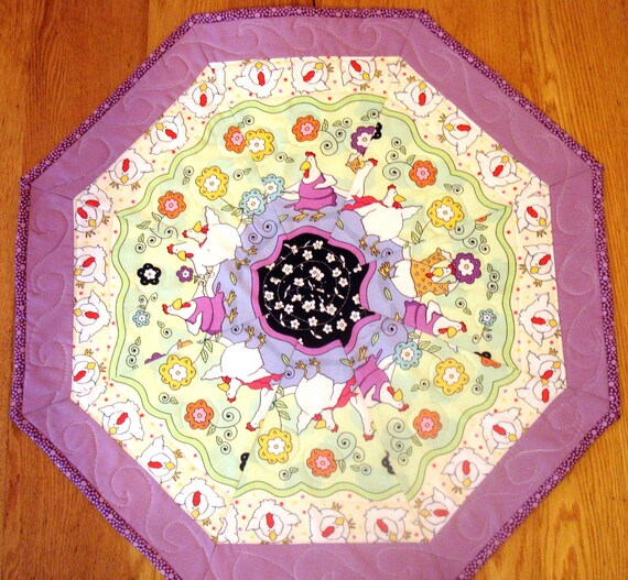 Quilted Table Topper With Funky DAncing Chickens
