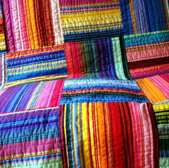 Multi Striped Strip Quilt By Uniquelynancy On Etsy