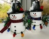 Snowmen Christmas Ornament - Wood Snowmen -  set of 2