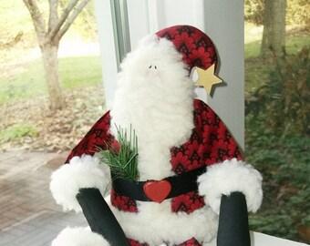 Santa Doll, Handmade, Christmas Decor, Art Doll - 16 inches