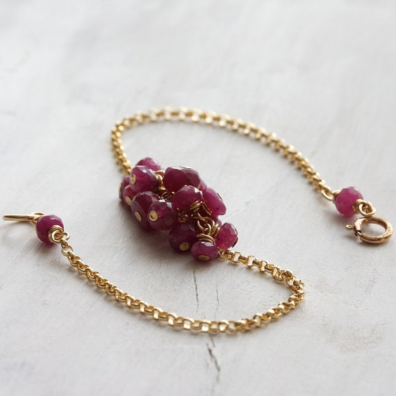 c a r m i n e  - ruby gemstone cluster bracelet in14k gold fill - simple and delicate ruby jewelry