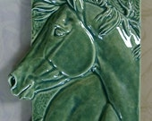 Ceramic Horse Plaque (Soft Jade)