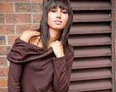 Off the shoulder long sleeve top - custom made in brown bamboo jersey