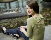 Women's cut-out bow top with 3/4 sleeve - custom made in bamboo jersey