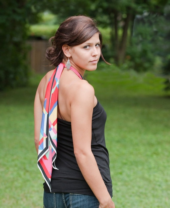Sale - Eco friendly black halter - pick your vintage scarf