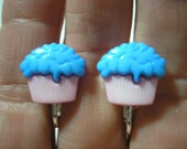 Play Earring - Clip - Cupcake - Blue/Pink - 1/2'