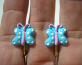 Whimsical Butterfly - Play Earring - Clip or Pierced - Polka Dot - Blue - 1/2""