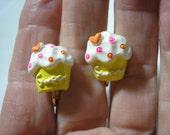 "Play Earring - Clip - Cupcake - Sweet - Yellow - 1/2"""