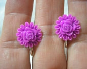 Play Earring - Clip or Pierced - Flower - Purple - 1/2""
