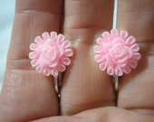 Play Earring - Clip or Pierced - Flower - Pink - 1/2""