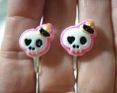 "Play Earring - Clip - Skull w/Crown - 1/2"""