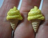 "Play Earring - Clip - Ice Cream Cone - Sparkly Yellow - 1/2""x7/8"""