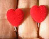 Play Earring - Clip or Pierced - Heart - Flocked Heart - Red - 1/2""
