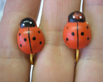 """Play Earring - Clip - Ladybug - Painted Wood - 1/2"""""""