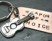 GUITAR Weapon of Choice Stamped Keychain, perfect for the musician, musical instrument, optional initial disc available