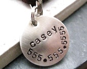 Pet Name Tag 19mm Nickel Silver Disc, split ring included, customized by you