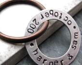 Personalized Washer keychain, 2 sided keychain, double sided keychain, anniversary keychain, couples keychain, men's keychain, personalize