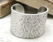 Pollination Aluminum Cuff Ring, bird and flowers design, customization available, please read listing