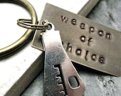 BEAKER Keychain, Weapon of Choice, hand stamped, antique brass base, alt charms available, see picture