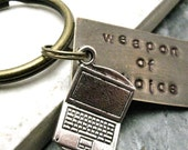 LAPTOP Weapon of Choice Stamped Keychain, antique brass base, alt charms available