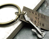 ELECTRIC GUITAR Weapon of Choice Stamped Keychain, antique brass base, alt charms available, see picture