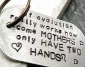 If Evolution Works Quote Key Chain, great gift for mom, brushed aluminum dog tag, MADE TO ORDER, customize this