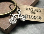 Rather Be Riding Bike Key Chain in antique brass, swivel lobster clasp avail in lieu of split ring, motorcycle charm also available