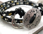 SALE Starry Night Double Wrap Beaded Leather Bracelet, Hand Stamped Button, moon charm, ready to ship