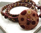 SALE Triple Wrap Beaded Leather Bracelet, Modish Maroon button, maroon leather, one of a kind piece, ready to ship as is