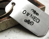 Owned Keychain, BDSM keychain, fetish keychain, slave keychain, gift for slave, sub keychain, optional personalized initial disc
