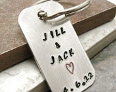 Couple's Keychain, rounded aluminum dog tags, choose your ink color, great anniversary gift, wedding gift, front side only