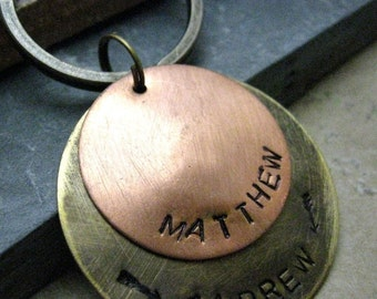 Personalized Keychain, 2 Layer Keychain, 8 Metal Options, Option 4 pictured, gifts under 20, mens keychain, rugged key ring