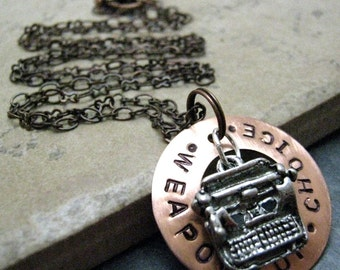 TYPEWRITER Necklace with copper washer, Weapon of Choice, alt charms available, please read listing