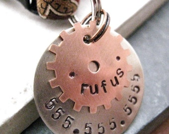 Copper Gear 2 Layer Pet ID Tag, bottom layer nickel silver, split ring included, customized by you