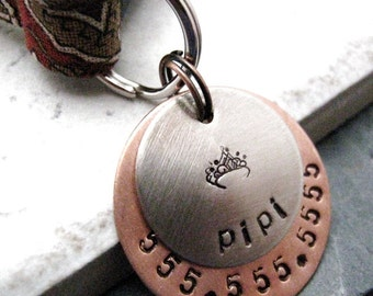 Custom Nickel Silver 2 Layer Pet ID Tag, bottom layer copper, split ring included, customized by you