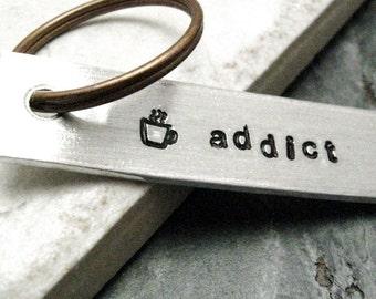 Coffee Addict Keychain, Coffee cup keychain, Coffee Lover's keychain, Caffeine addict keychain, gift for the coffee lover, coffee keychain