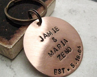 Personalized Copper Disc keychain, 1.25 inch disc, antique copper split ring, Couples keychain, customize this, please read entire listing