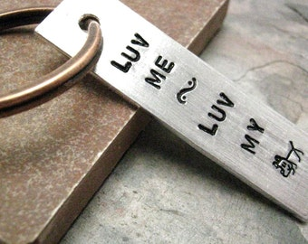 Luv Me Luv My Dog Keychain, love me love my dog keychain, Dog lover's gift, Dog lover's keychain, name or date on back