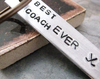 Best Coach Ever Keychain, Hockey coach gift, Lacrosse coach gift, lots of sports symbols, please read listing and see pics for specs
