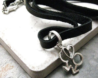 GAY MALE Charm Necklace with heart, leather cord, 18 inches long, black or brown cord available