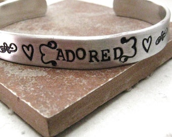 Adored Bracelet, I Adore You Bracelet, I Love You Bracelet, Valentine Bracelet, You are Loved, aluminum cuff, 3/8 inch wide, customizable