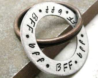 BFF Aluminum Washer Keychain, antique copper split ring, customization available, single/double sided, BFF gift, bestie gift, best friends